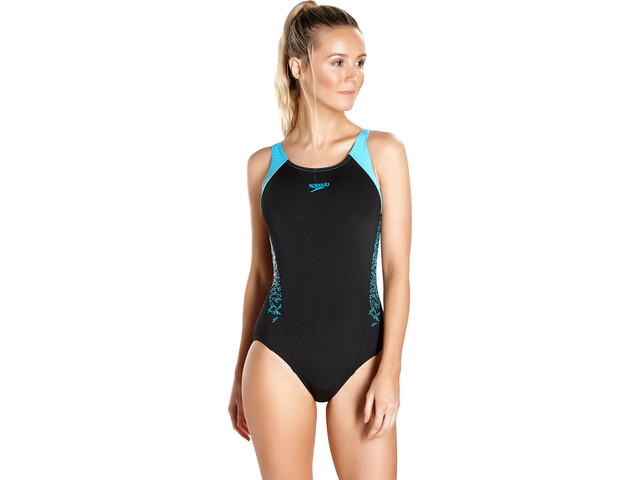 speedo Boom Splice Muscleback Swimsuit Dames, black/turquoise